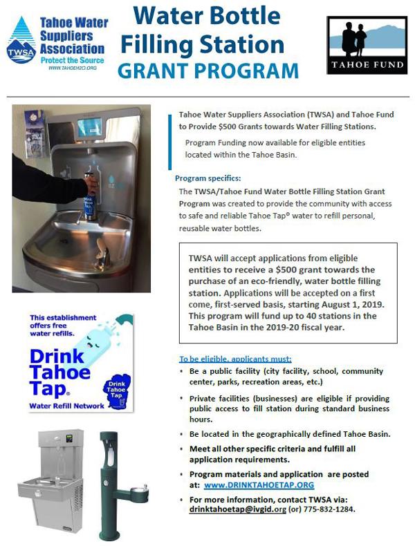 TWSA Water Bottle Refill Station Grant Program | Incline